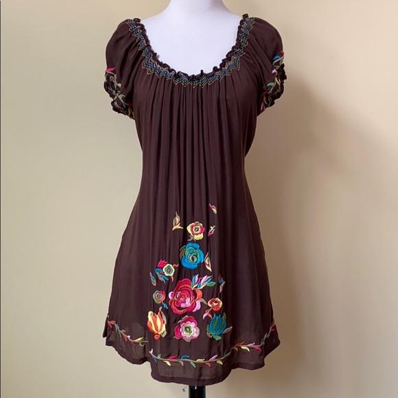 Urban Mango Dresses & Skirts - Urban Mango Embroidered Scoop Neck Boho Dress
